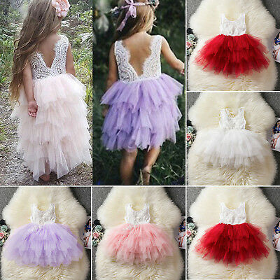 Toddler Flower Girl Lace Backless Tutu Dress Prom Wedding Bridesmaid Party Dress