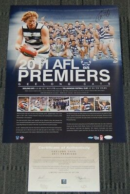 Geelong Cats 2011 Afl Premiers Captain Cameron Ling Hand Signed Official Print