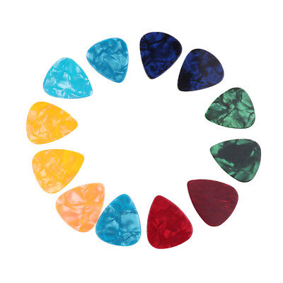 Pack of 12 Colorful Celluloid Guitar Bass Picks Plectrums 0.71mm-0.96mm