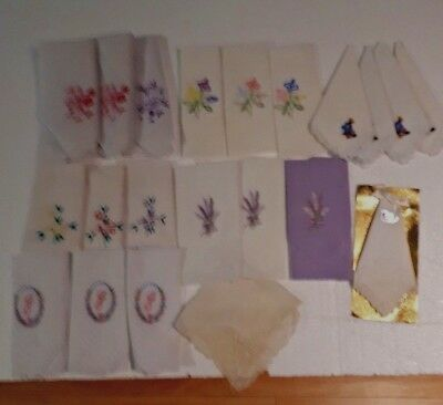 Lot 21 New Vtg Hankies Embroidered  Lace Wedding