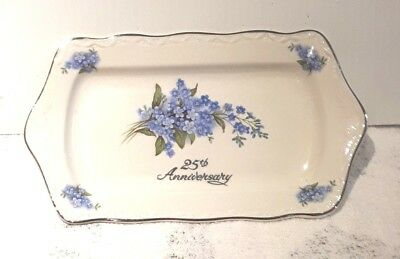 Vintage 25th Anniversary China Tray Falcon Ware England Forget-me-nots.