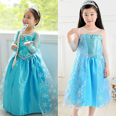 AU Girls FROZEN Princess ELSA Queen Dress Up Cosplay Costume Party Fancy Dresses