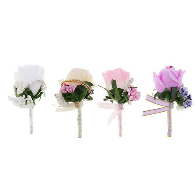 Groom Best Man Rose Boutonniere Buttonholes Wedding Prom Flowers Accessory
