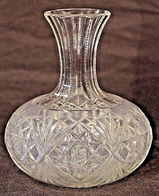 Antique bulbous hand blow cut crystal wine carafe bottle Georgian ships decanter