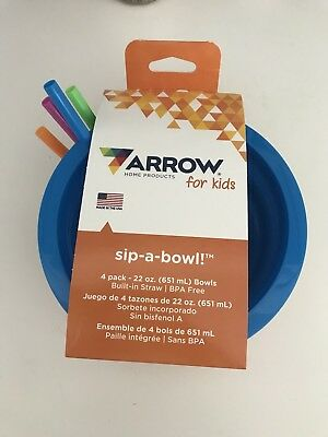 Arrow Sip-A-Bowl With Built In Straw, 22 oz (4 Pack) New!! Bpa Free!