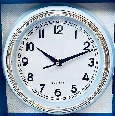 Pale blue/ Duck Egg small Retro Round Layered Wall Clock Kitchen Chrome NEW