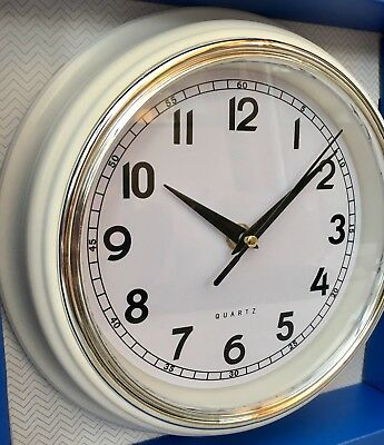 Cream /off white small Retro Round Layered Wall Clock Kitchen Decoration Chrome