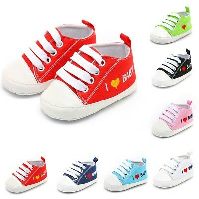 Newborn Infant Baby Girl Boy Heart Letter Print Soft Sole Casual Cotton Shoes US