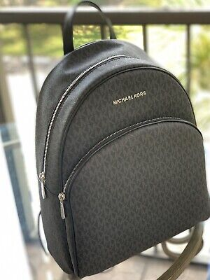 31f385b5be5f NWT MICHAEL KORS Abbey Large Backpack Black Mk Signature Pvc Leather ...