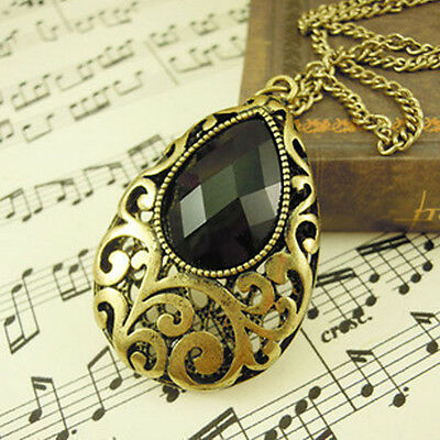 New clothes Vintage Tear Drop Black Faceted Acrylic Gemstone Pendant  Necklace