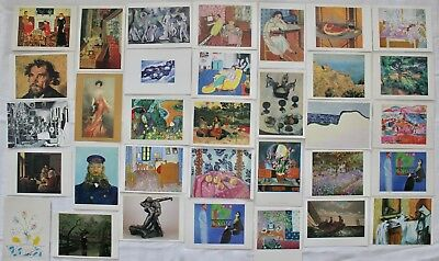 Lot of 33 Vintage Postcards ART MUSEUMS Europe 4 x 6 Impressionist Paintings