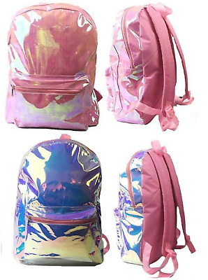 Silver or Pink Holographic Girls Back Pack Shiny Iridescent School Rucksack Bag