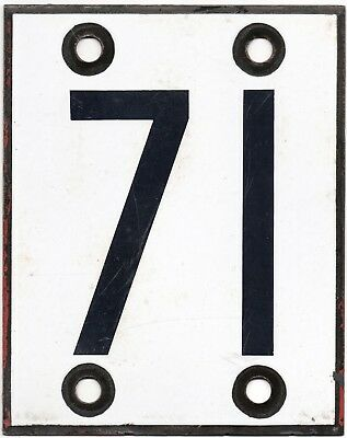 Large old French SNCF house number 71 door gate plate plaque enamel steel sign