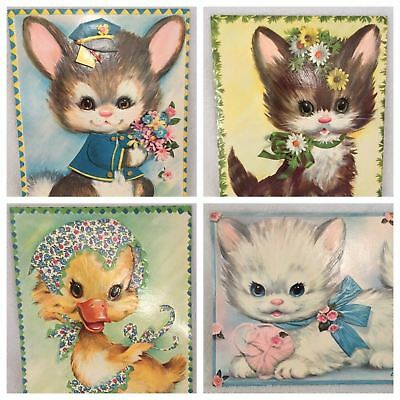 Coby Large Vintage Cards Cat Kitten Duck Bunny Rabbit with envelopes 7-1/2x9-1/2