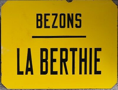 Old RATP French enamel steel street sign plaque bus stop Bezons La Berthie Paris