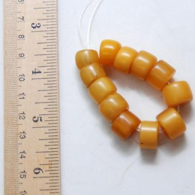"4 1/2"" Strand_FAUX AMBER African Trade Beads_Butterscotch Color_Set of 12 Pcs."