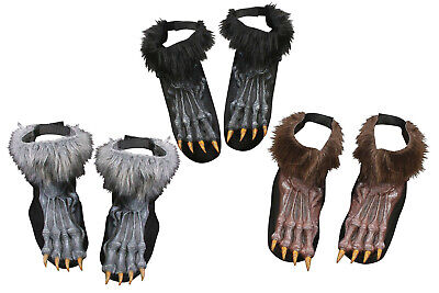 Furry Hairy Werewolf Monster Feet Shoe Covers Shoes Adult Costume Accessory