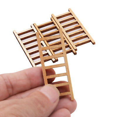4Pcs DIY Wooden Dollhouse Miniature Wood Stairs Toy Garden Fairy Home Decor S