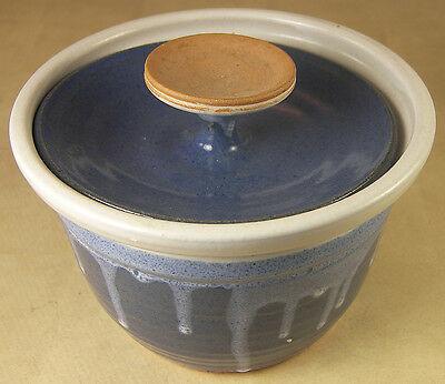 Clay Dish Signed Artisan Studio Pottery Terra Cotta with Lid Blue & Grey Glaze