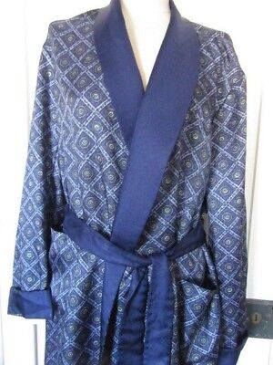 Vintage 60S Tootal Dressing Gown Robe Smoking Jacket Blue Geometric Print Size L