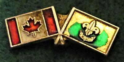 Boy Scouts Canada 2 Flags Canada Plus Scouts On Gold Color Pin Mint
