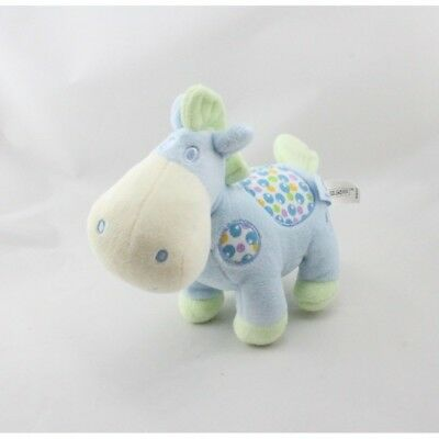 20675 - Doudou cheval bleu vert pois GIPSY - Security blanket
