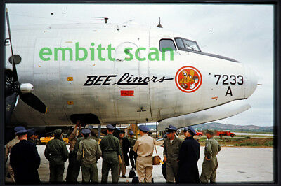 Original Slide, USAF 21st TCS Douglas C-54D Skymaster at Osan, 1950s Korean War