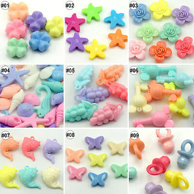 50/100pcs Mixed Color Assorted Cartoon Shape Acrylic Loose Beads 11mm