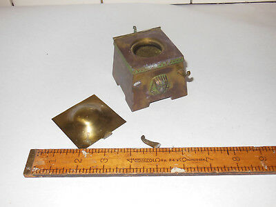 Antique EGYPTIAN Revival SPHINX Brass Silver Copper Inlay INKWELL needs help