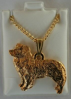 Border Collie Dog 24K Gold Plated Pewter Pendant Chain Necklace Set