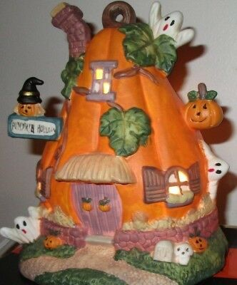 "Haunted Haven Lighted Hand Painted Porcelain Halloween House ""Pumpkin Hollow"""