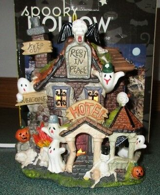 """Spooky Hollow Porcelain Lighted Halloween Haunted """"Ghostly Hotel"""" Haunted house"""