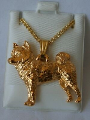 Shiba Inu Dog 24K Gold Plated Pewter Pendant Chain Necklace Set