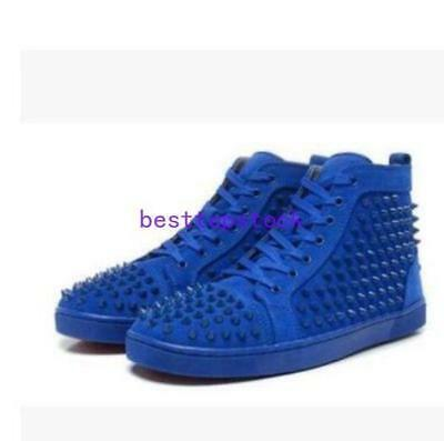 e99270c4d508 Mens Real Leather Rivet Lace Up Sneakers Causal High Top Running Punk Shoes  size