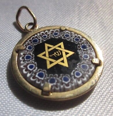 """GILDED BLUE ENAMEL STAR OF DAVID PENDANT 800 SILVER with GOLD PLATE 7/8"""" Round"""