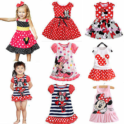 Girls Kids Minnie Mouse Polka Dot Skirt Party Mini Dress Summer Cartoon Outfits