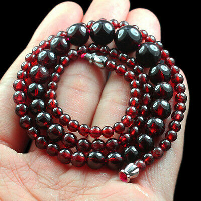 145.7CT 100% Natural Blood Red Garnet Rhodolite Beads Necklace CGXx101