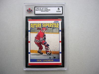 1990/91 Score Nhl Hockey Card #440 Eric Lindros Rookie Ksa 8 Nm / Mint Sharp!!