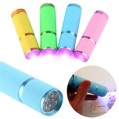 9 LED UV 365 nm Flashlight Torch Fluorescent ink For Outdoor Activities 4 Colors