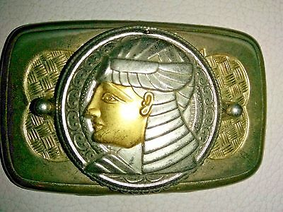 Vintage Gold Tone & Silver Egyptian Belt Buckle Gold tone silver