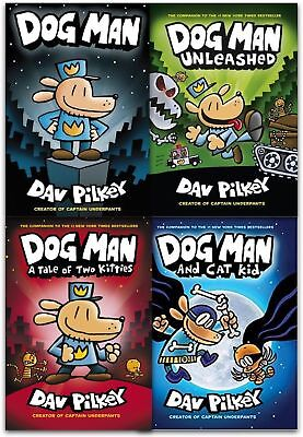 Adventures of Dog Man 4 Books Set Collection By Dav Pilkey A Tale of Two Kitties