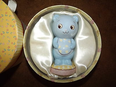 """5"""" H blue bear baby bank shower gift in decorative box nursery collectible decor"""