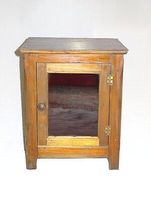 Antique Timber & Ruby Glass Pie Food Jam Cooling Safe Cupboard