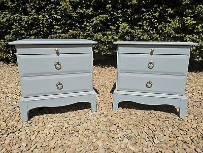 Hand Painted Pair Of Stag  Bedside Drawer Colour Of Steel V Paint& Paper Library