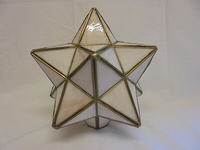 Vintage Off White Pale Peach Glass And Metal Star Shaped Lamp Shade 80S Ceiling