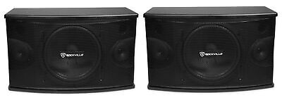 "Pair Rockville KPS10 10"" 3-Way 1200 Watt Karaoke Speakers+Wall Brackets / MDF!"