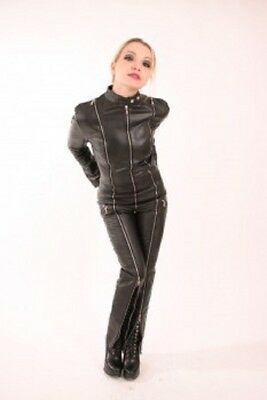 Genuine Leather Leder Domina Catsuit Jumpsuit Zippered