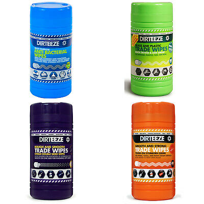 Dirteeze Cleaning Wipes Anti Bacterial Glass Plastic Trade Rough Smooth Strong