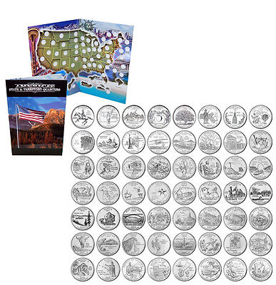1999 - 2009 Complete Uncirculated State Quarter w/ FREE Territory and Folder Map