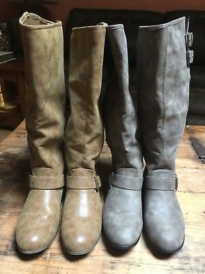 f2d257184 Steve Madden Girl Women's Faux Leather Boots Lot Of 2 Brown & Grey Tall  ABROADD
